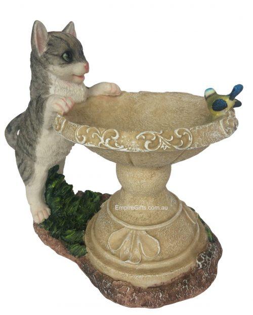 Cat Bird Feeder Statue Garden Ornament