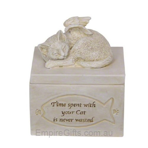 Cat Memorial Pet Urn with Verse Garden Statue