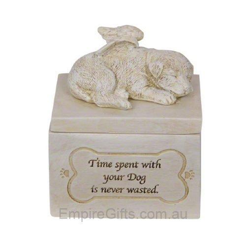 Dog Pet Memorial Pet Urn with Verse Garden Statue