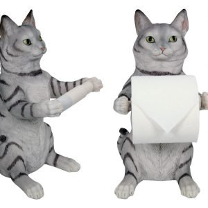 Cat Toilet Roll Holder Free Standing Home Decor Collectable