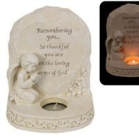 (1) Angel Cherub Memorial Candle Verse Remembering you... Statue