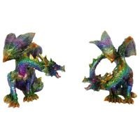 2 x Multi Coloured Dragon Statue Figurines Set of Two