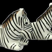African Zebra Salt & Pepper Set Ceramic Collectable Kitchen S&P
