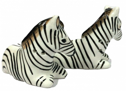 African Zebra Salt & Pepper Set Ceramic Collectable Kitchen S&P