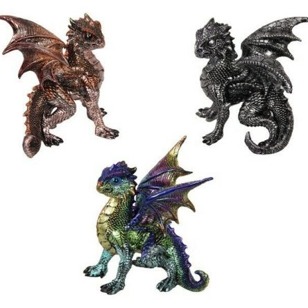 3 x Dragon Statue in Defence Pose SET of 3
