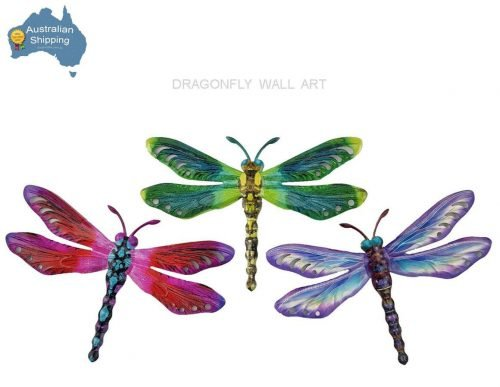3pc Dragonfly Metal Hanging Metal Wall Art Home Garden Decor