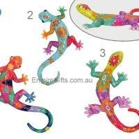 3pc Lizard Gecko Multicoloured Wall Plaque Garden Hanging SET of 3