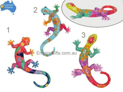 3pc Lizard Gecko Multicoloured Wall Plaque Garden Hanging SET of 3