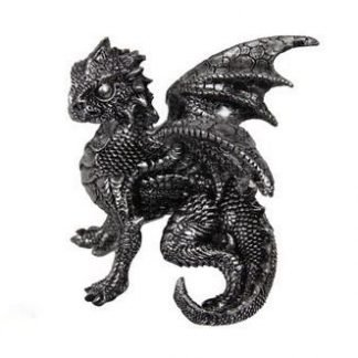 1pc Dragon Statue in Defence Pose Silver