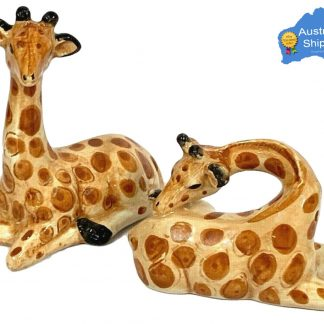 2pc African Giraffe Salt & Pepper Set Ceramic Collectable