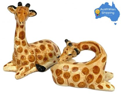 2pc African Giraffe Salt & Pepper Set Ceramic Collectable