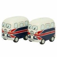 2pc Salt and Pepper Shakers Set UK English Camper Van Kombi Collectables