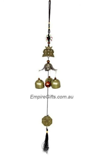 Buddha Twin Brothers Brass Bell Wind Chime Lucky Charm