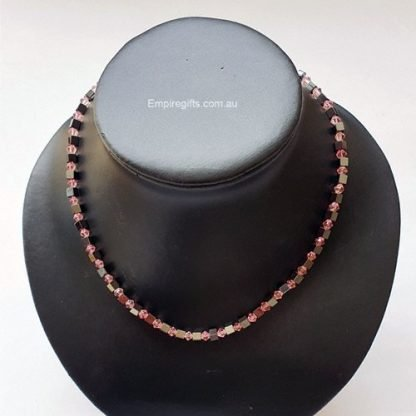 Magnetic necklace pink crystal beads