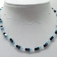 Magnetic hematite necklace blue