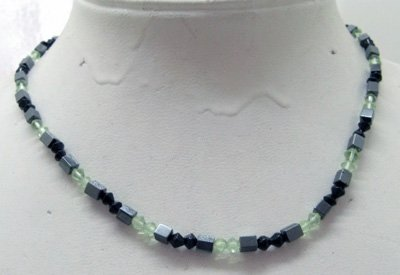 Magnetic hematite necklace green