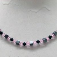 Magnetic hematite necklace pink