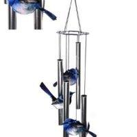 Blue FAIRY Wren 4 x Birds Wind Chime Metal Garden Hanging