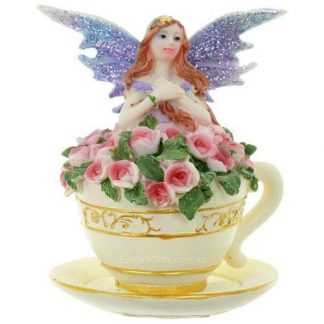 1pc Fairy in a Tea Cup Lilac Flower Fairy Garden