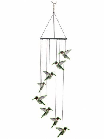 Hummingbird Wind Chime Metal Garden Hanging Mobile 8pc