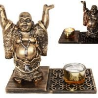 1 x Laughing Buddha Statue Candle Holder Feng Shui