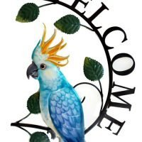 1pc Cockatoo Bird Welcome Sign Metal Wall Art Garden - Blue