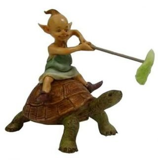 Elf Riding on Turtle Pixie Fairy Garden Figurine Collectable