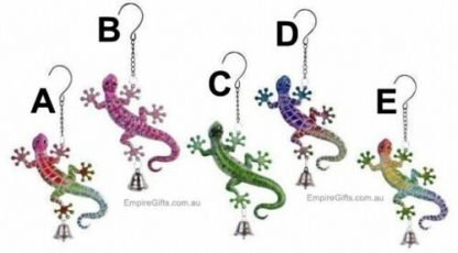 1pc Gecko Lizard Metal Garden Hanging Bell Garden
