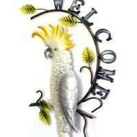 1pc White Cockatoo Bird Welcome Sign Metal Wall Art
