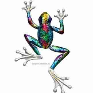 31cm Frog Wall Art Piece with Rainbow Metallic Finish Metal