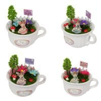 4 x Teacup Fairy in Fairy Garden with Welcome Signs SET of 4