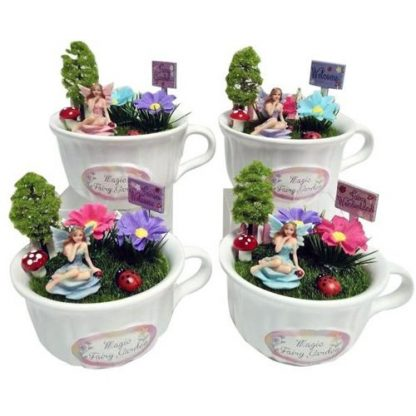 4pc Fairy in a Tea cup Fairy Garden with Welcome Signs SET of 4