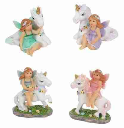 4pc Fairy & Unicorn Friends Fairy Garden or Cake Decoration FAIFRSM
