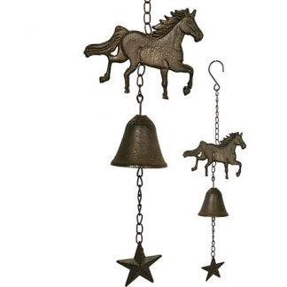 1pc Cast Iron Horse w/ Lucky Horseshoe Hanging Bell