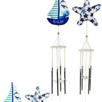 2pc) Sail boat and Starfish Nautical Beach Wind Chimes Set of 2