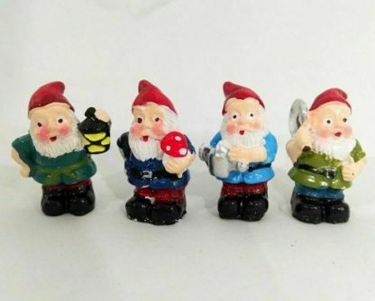 8 x Miniature Gnome Figurine Fairy Garden or Cake Decoration