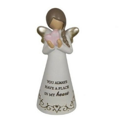 "Angel Figurine Inspirational Words ""You always have a place in my heart"""