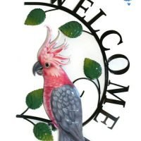 1pc Cockatoo Bird Welcome Sign Metal Pink/ Grey Galah