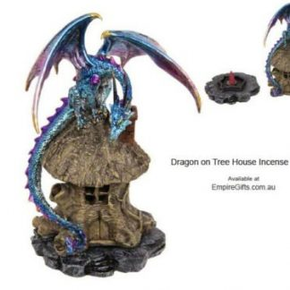 Dragon Backflow Incense Burner Metallic Dragon on Tree House Blue