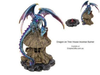 Dragon Backflow Incense Burner Metallic Dragon on Tree House Blue