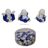 8pc Miniature Buddha/Monk Figurine Blue/White Cake Decoration