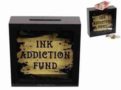 Tattoo Ink Addiction Fund Wood Money Box Tattoo Saving