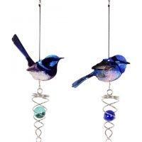 Blue Fairy Wren Bird Spinner Metal Garden Hanging Mobile