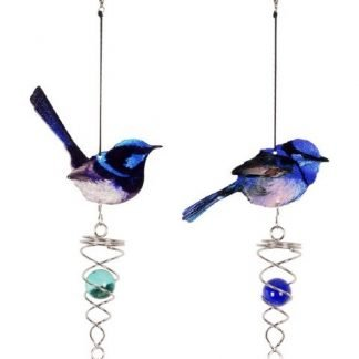 Blue Fairy Wren Bird Spinner Metal Garden Hanging Mobile