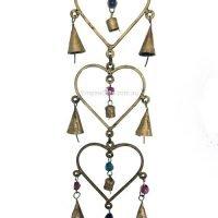 (1) 3 Hearts Brass Hanging Bells Feng Shui Enhancer