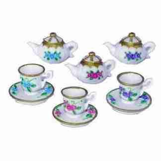 24pc Miniature Tea Cups + Tea Pots Cake Decoration