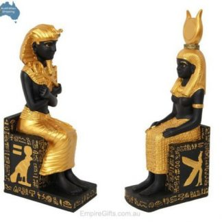 2pc Egyptian King + Queen Statues on Hieroglyphics Throne SET of 2