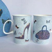 2pc Shoes & Handbag Bone China Coffee Tea Mugs Set