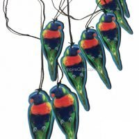 Australian Rainbow Lorikeet Wind Chime Metal Garden Hanging Mobile
