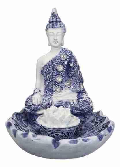 Bhumisparsha Mudra Buddha Amitabha Meditating on Lotus Flower Incense Holder Burner